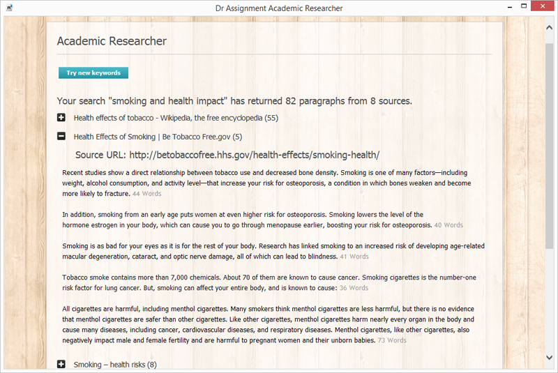 Academic Researcher Screen shot
